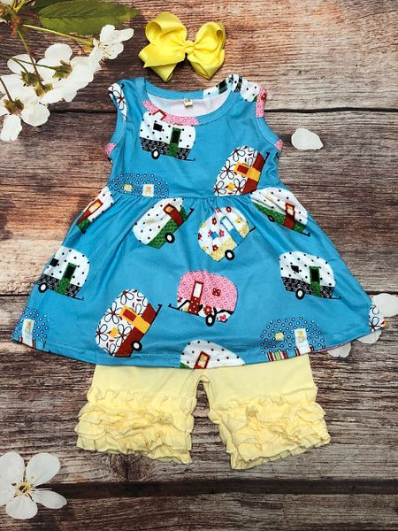 Girls Happy Camper Ruffle Short Set - My 4 Princesses LLC