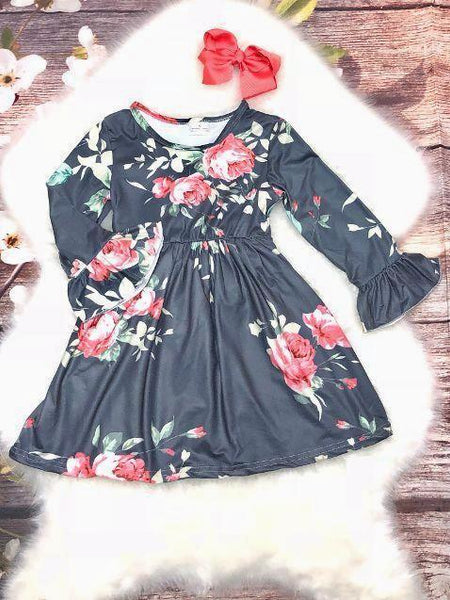 Dark Gray and Pink Coral Rose Print Bell Sleeve Dress - My 4 Princesses LLC