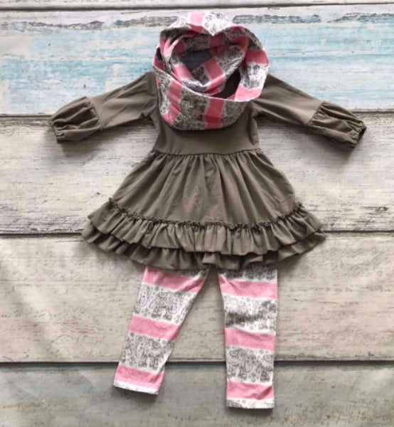 Girls Pink and Grey Elephant 3 Piece Scarf Tunic Legging Set - My 4 Princesses LLC