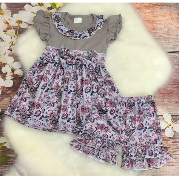 Girls Gray Ruffles & Bow Floral Short Set - My 4 Princesses LLC