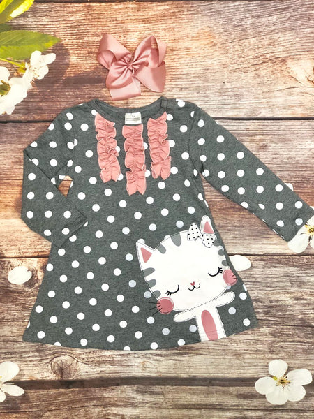 Gray Polka Dot Sweet Kitty Dress - My 4 Princesses LLC