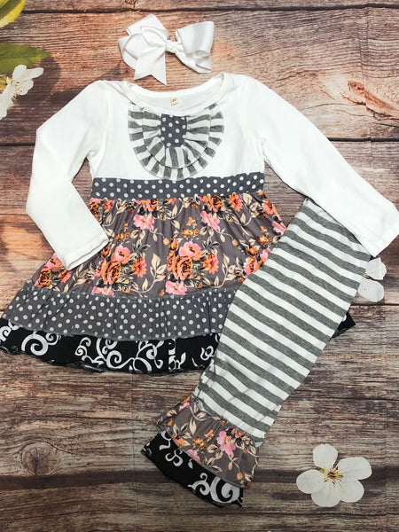 Madeline Gray Striped & Floral Ruffle Pant Set - My 4 Princesses LLC