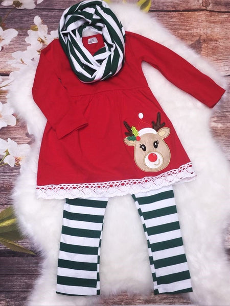 Girls Christmas Stripe Reindeer 3 Piece Scarf Pant Set - My 4 Princesses LLC