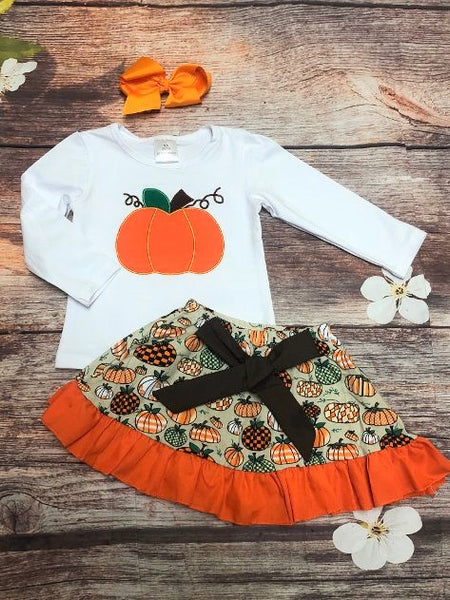 Pumpkin Harvest Skirt Set - My 4 Princesses LLC