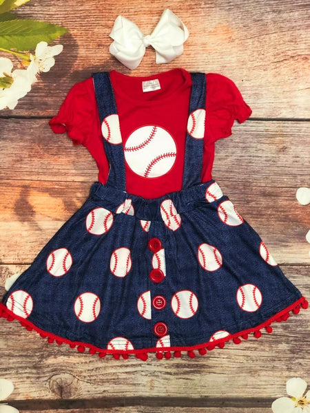 Hey Batter Batter!  Suspender Baseball Dress - My 4 Princesses LLC
