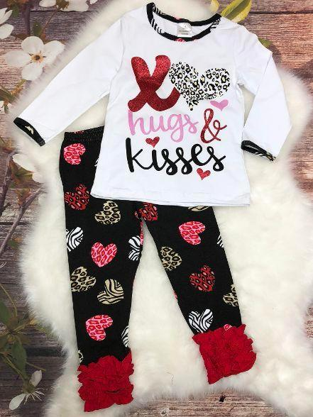 Hugs & Kisses Valentine Ruffle Pant Set - My 4 Princesses LLC