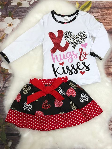 Hugs & Kisses Valentine Skirt Set - My 4 Princesses LLC