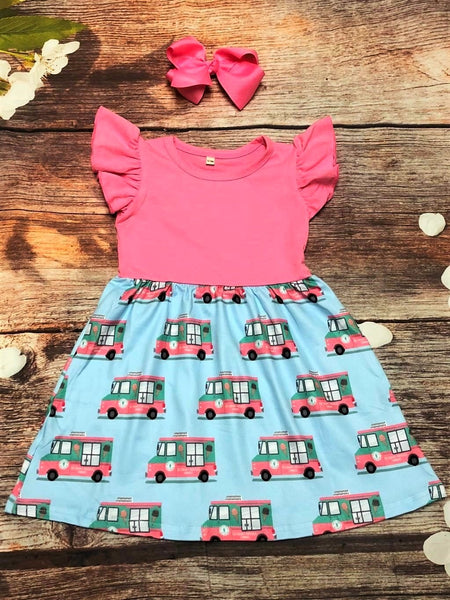 Ice Cream Truck Flutter Sleeve Dress - My 4 Princesses LLC