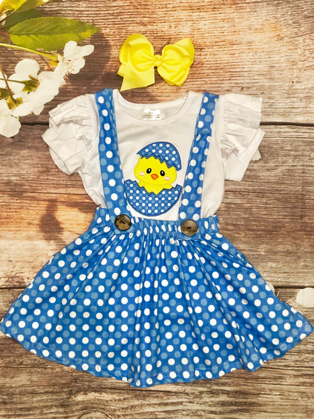 Polka Dot Chick Suspender Skirt Set