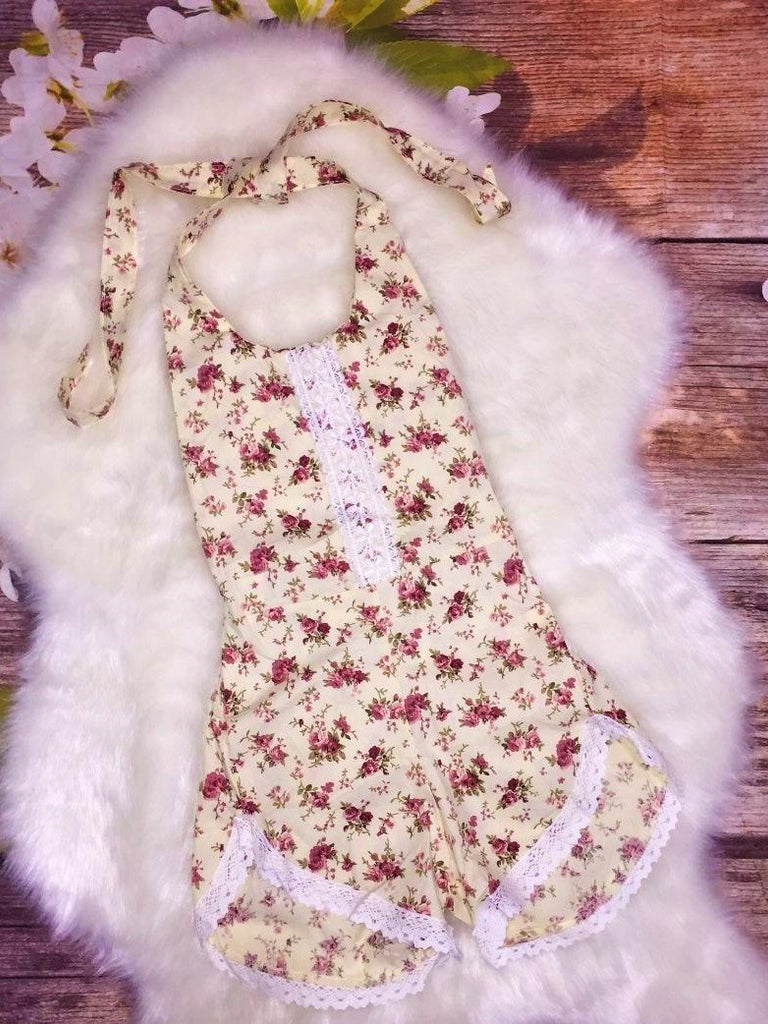 Ivory and Floral Lace Trim Romper - My 4 Princesses LLC