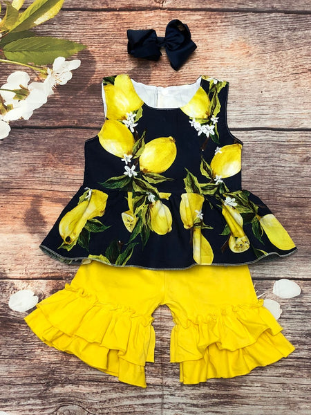 Navy Lemon Peplum Top with Yellow Ruffle Shorts - My 4 Princesses LLC