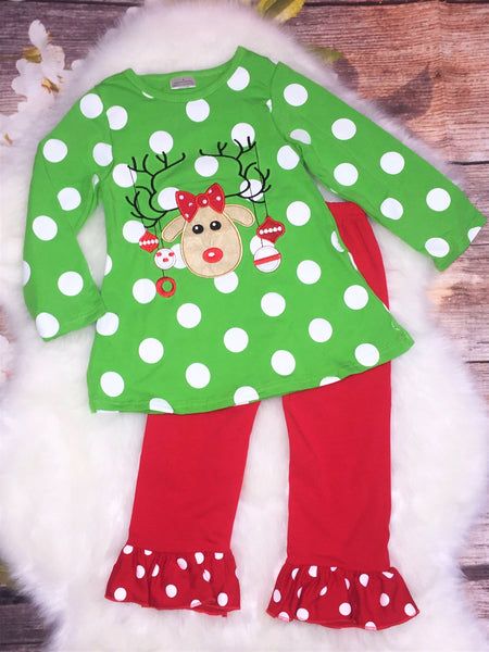 Girls Green Red Polka Dot Reindeer Pant Set - My 4 Princesses LLC
