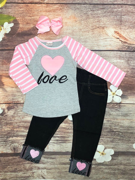 LOVE Pink & Gray Raglan with Distressed Love Embroidered Jeans - My 4 Princesses LLC