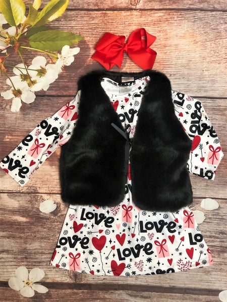 Love & Hearts Dress With Black Fur Vest - My 4 Princesses LLC