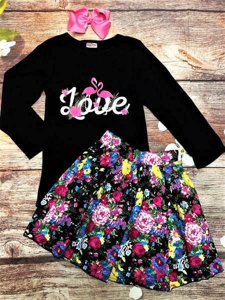 Love Flamingo Floral Skirt Set - My 4 Princesses LLC