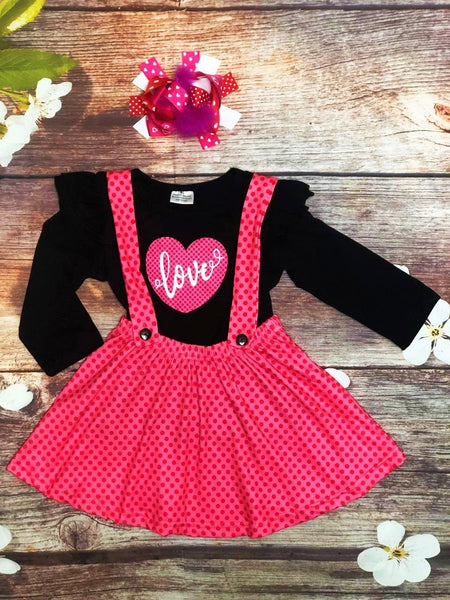 LOVE Polka Dot Suspender and Shirt Set - My 4 Princesses LLC