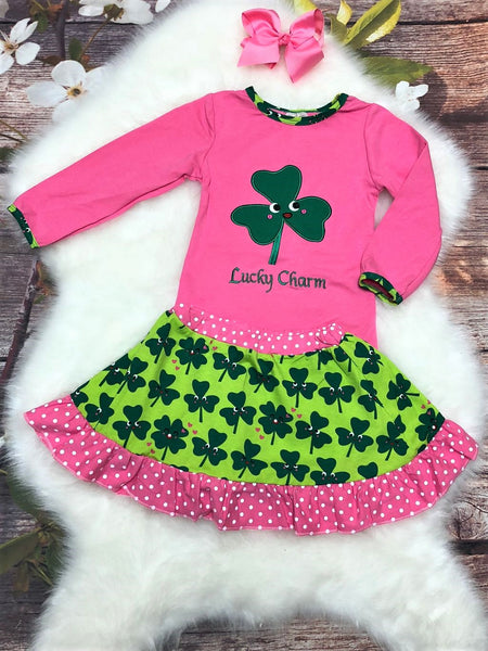 Green & Pink Lucky Charm Skirt Set - My 4 Princesses LLC