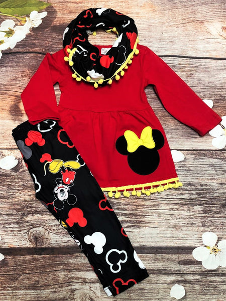 Minnie 3 Piece Pom-Pom Scarf Legging Set - My 4 Princesses LLC