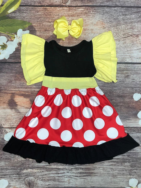 Minnie Flounce Sleeve Dress - My 4 Princesses LLC