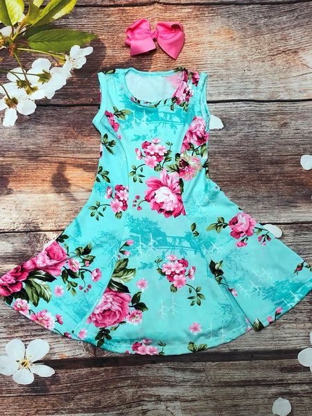 Mint & Pink Floral Twirl Dress - My 4 Princesses LLC