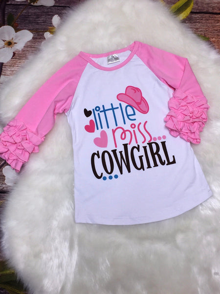 Little Miss Cowgirl Ruffle Raglan Shirt - My 4 Princesses LLC