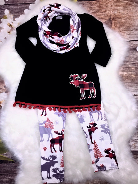 Black & Red Plaid Moose 3 Piece Scarf Legging Set - My 4 Princesses LLC