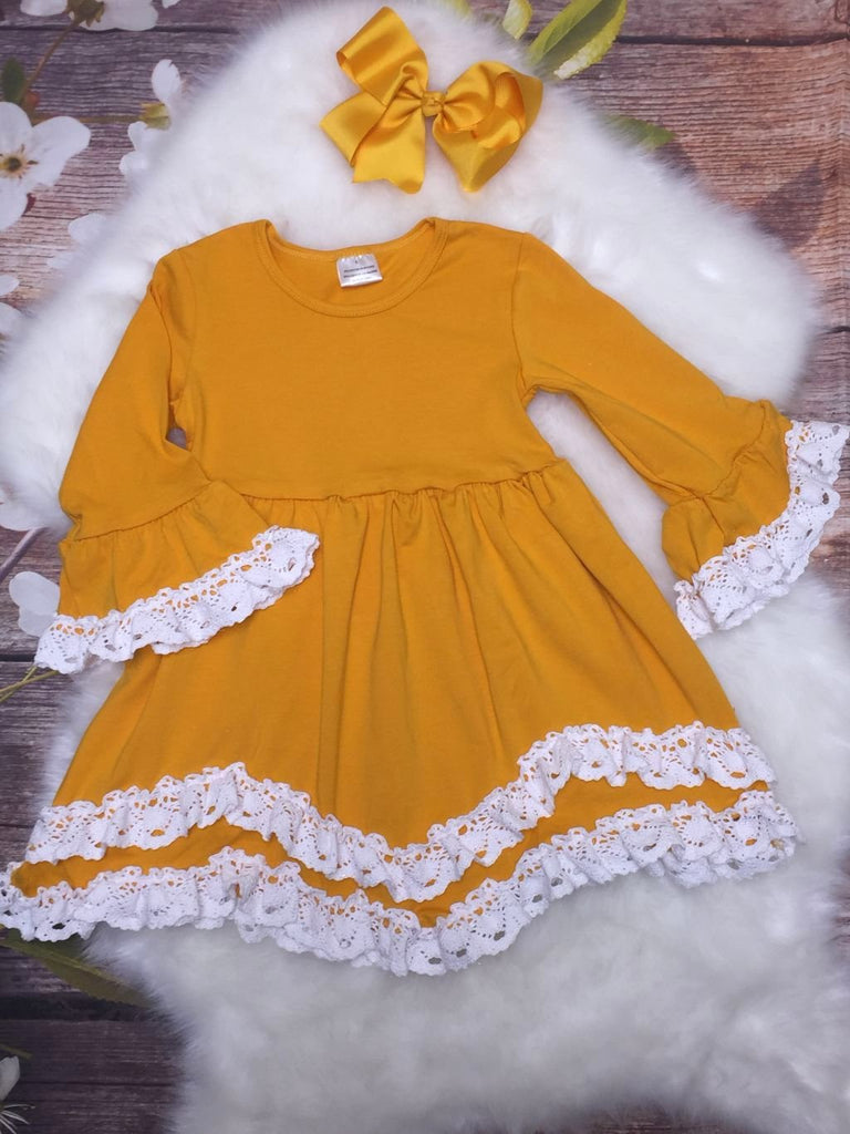 Yellow Bell Sleeved Dress Trimmed with White Crocheted Lace & Bow - My 4 Princesses LLC