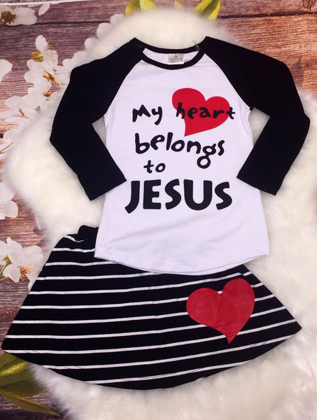 My Heart Belongs To Jesus Striped Skirt Set - My 4 Princesses LLC