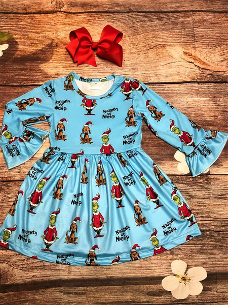 The Grinch 'Naughty or Nice' Bell Sleeve Dress - My 4 Princesses LLC