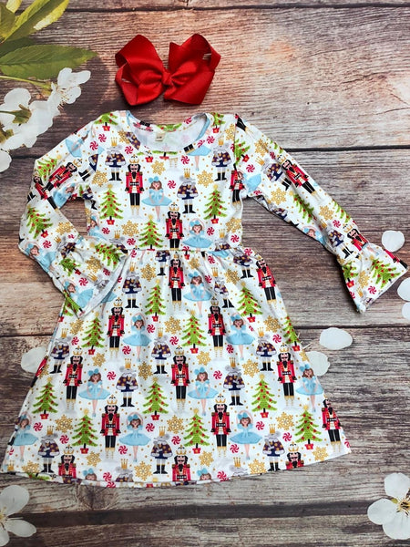 Bell Sleeve Nutcracker Holiday Dress - My 4 Princesses LLC