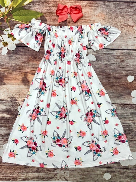 Off Shoulder Unicorn & Flowers Maxi Dress