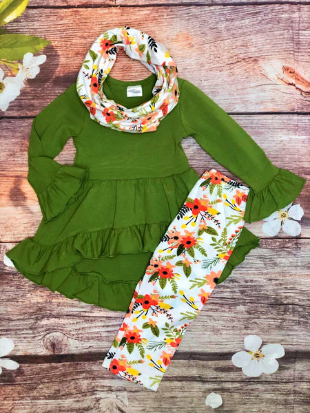Olive Green Tunic with Floral Legging & Scarf Set - My 4 Princesses LLC