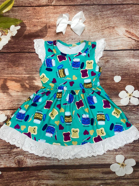 Peanut Butter & Jelly Together Forever Eyelet Lace Dress - My 4 Princesses LLC