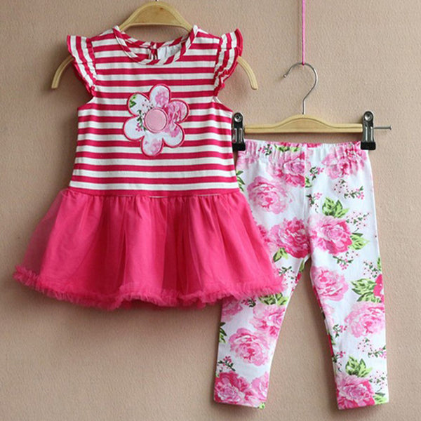 Baby Girls Pink Stripes and Floral Capri Set-My 4 Princesses LLC