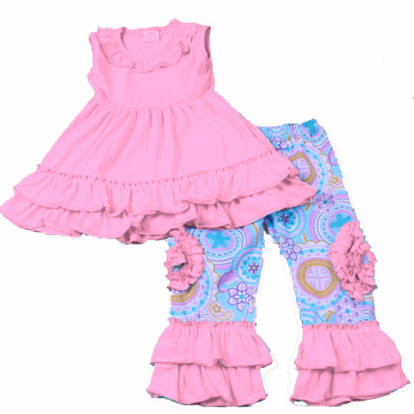 Pink Teal Sleeveless Swing Top with Ruffle Bottoms - My 4 Princesses LLC