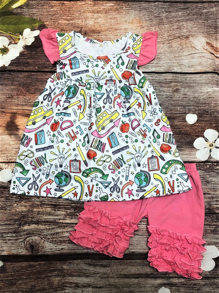 Pink Flutter Sleeve Back to School Ruffle Short Set - My 4 Princesses LLC