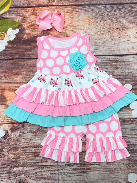 Polka Dots & Stripes Pink N Teal Ruffle Short - My 4 Princesses LLC