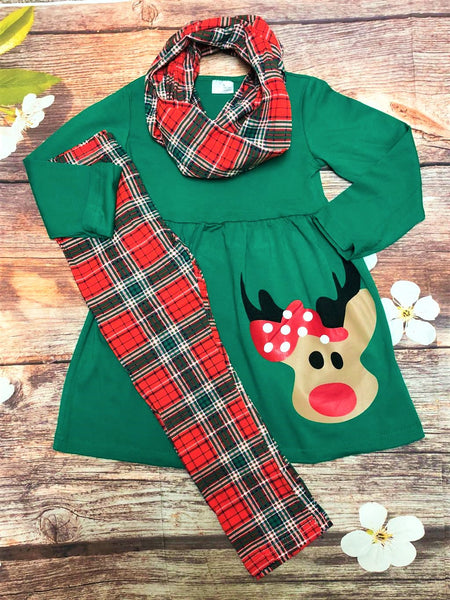 Red & Green Plaid Reindeer Tunic Leggings & Scarf Set - My 4 Princesses LLC