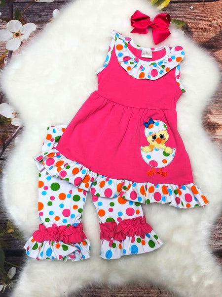 Pink & Polka Dot Easter Chick Capri Set - My 4 Princesses LLC