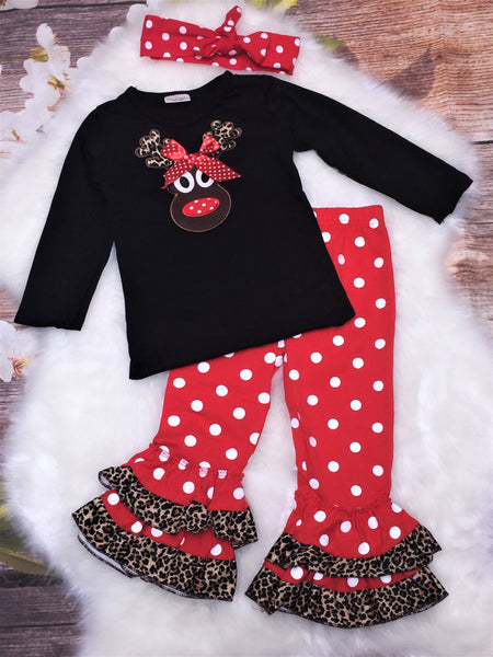 Girls reindeer cheetah ruffle outfit - My 4 Princesses LLC