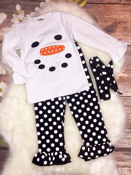 Girls Snowman polka dot outfit - My 4 Princesses LLC