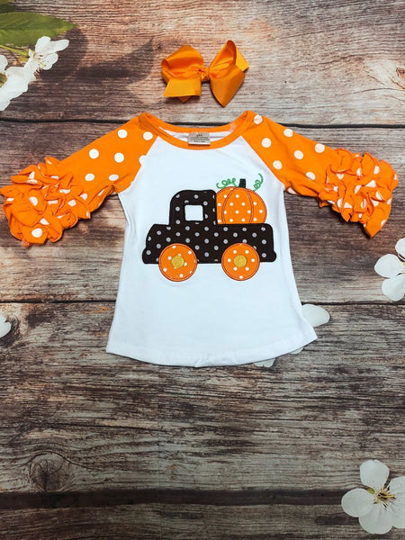 Pumpkin Pick Up Ruffle Raglan Shirt