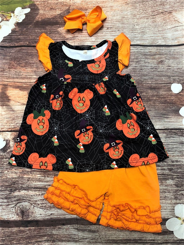 Jack-o-Lantern Minnie Pumpkin Ruffle Short Set - My 4 Princesses LLC