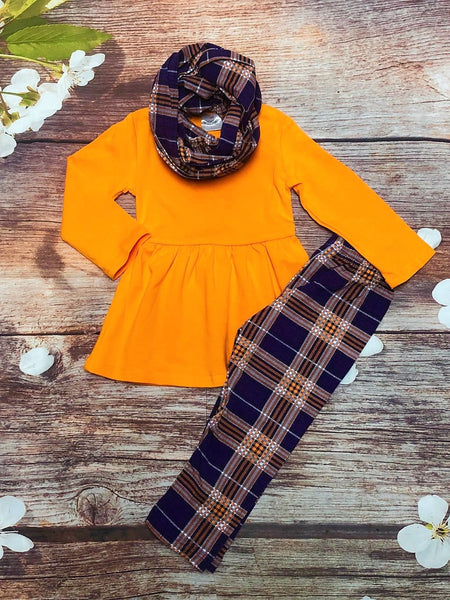 Purple & Orange Plaid Legging Set with Scarf - My 4 Princesses LLC