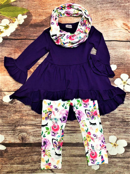 Purple Tunic with Unicorn Leggings & Matching Scarf - My 4 Princesses LLC