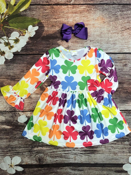 Rainbow Shamrock Bell Sleeve Dress - My 4 Princesses LLC