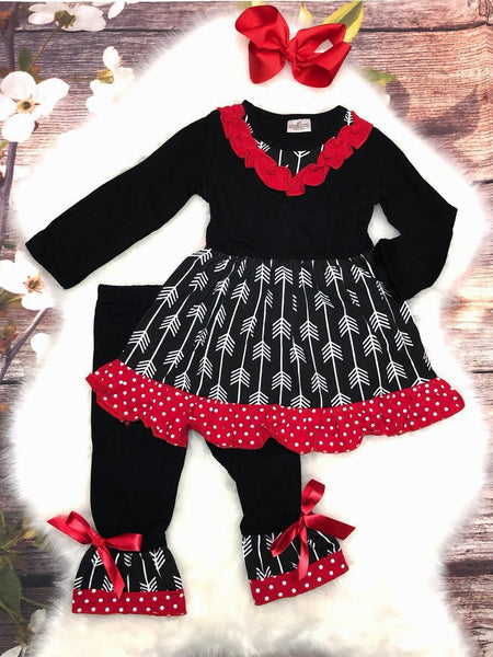 Girls Black and Red Ruffle Arrow Pant Set With Red Bow - My 4 Princesses LLC