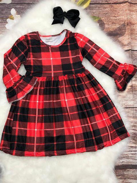 Red & Black Bell Sleeve Plaid Dress - My 4 Princesses LLC
