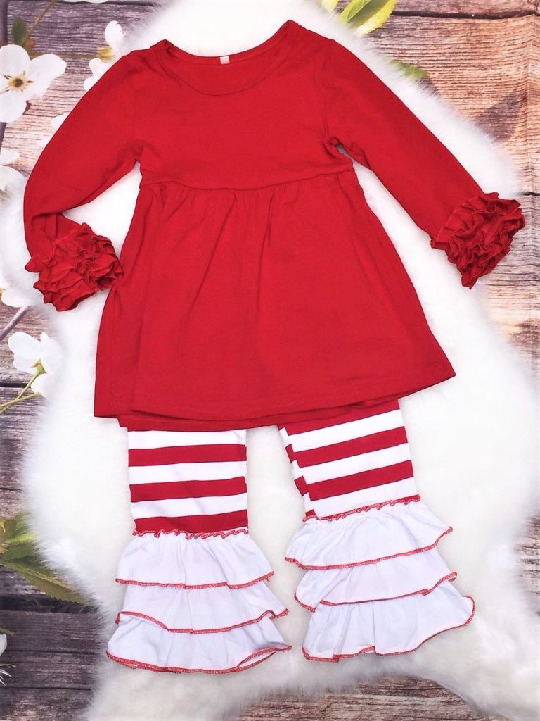 Girls Candy Cane Ruffles & Stripes Set - My 4 Princesses LLC