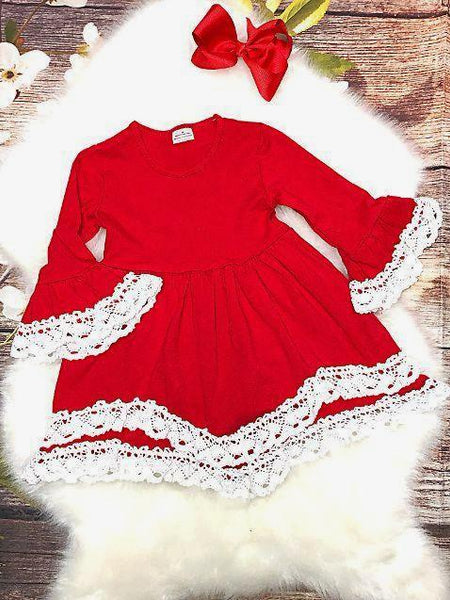 Red Bell Sleeved Dress Trimmed with White Crochet Lace - My 4 Princesses LLC
